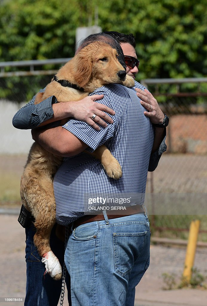 Two men embrace as they hold a hurt dog in their arms in the crime scene where its owner, an Architect, was shot dead in Tegucigalpa, on January 24, 2013. According to Honduran Human Rights organizations, there were 20.515 violent deaths in the last three years in the country. AFP PHOTO / Orlando SIERRA