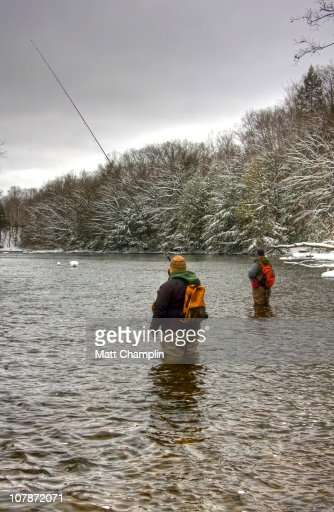 Two men fishing in the salmon river stock photo getty images for Salmon river ny fishing regulations