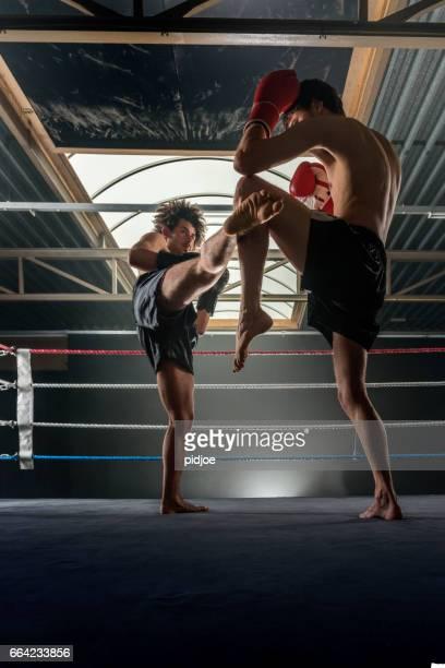 Two men free fighting