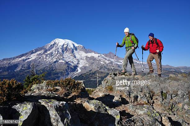 Two men hiking the Mountain Rainier