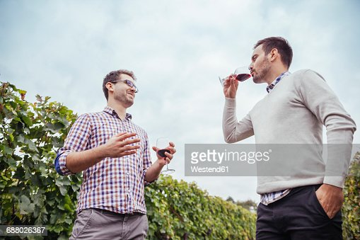 Two men in a vineyard drinking red wine