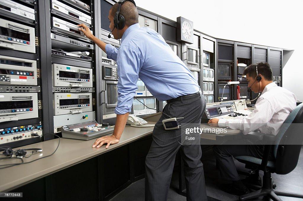 Two Men in Broadcasting Studio