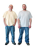Two Men in T-shirts Full Length Isolated