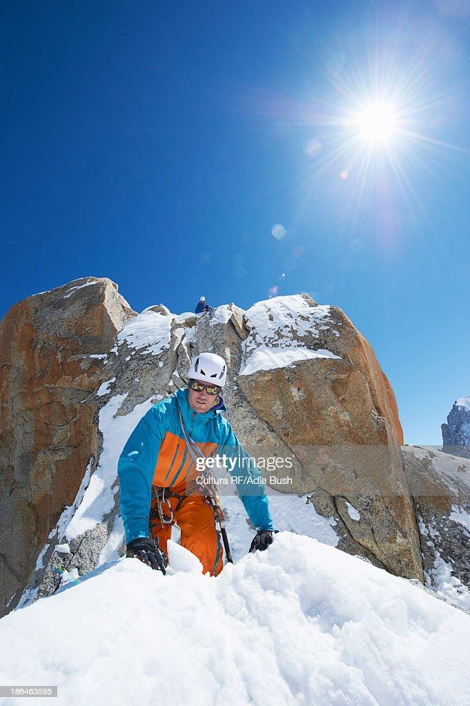 Two men mountain climbing, Chamonix, France : Stock Photo