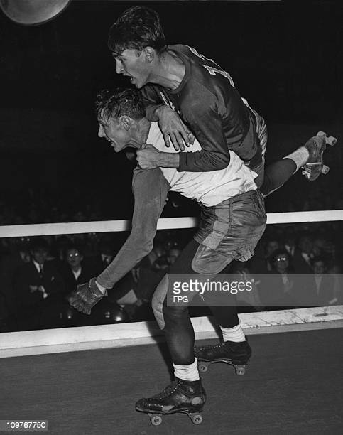 Two men on roller skates taking part in a Roller Derby in New York in 1931