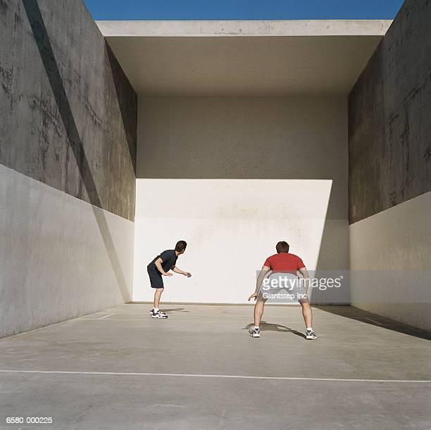 Two Men Playing Handball