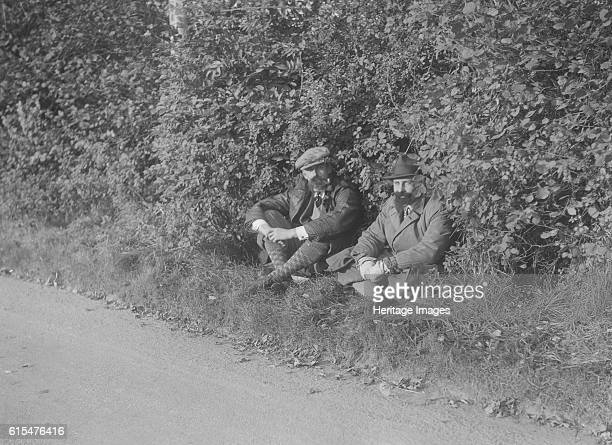 Two men taking a rest during the Bugatti Owners Club car treasure hunt 25 October 1931 Place Bugatti OC Treasure Hunt Date 251031 Artist Bill Brunell