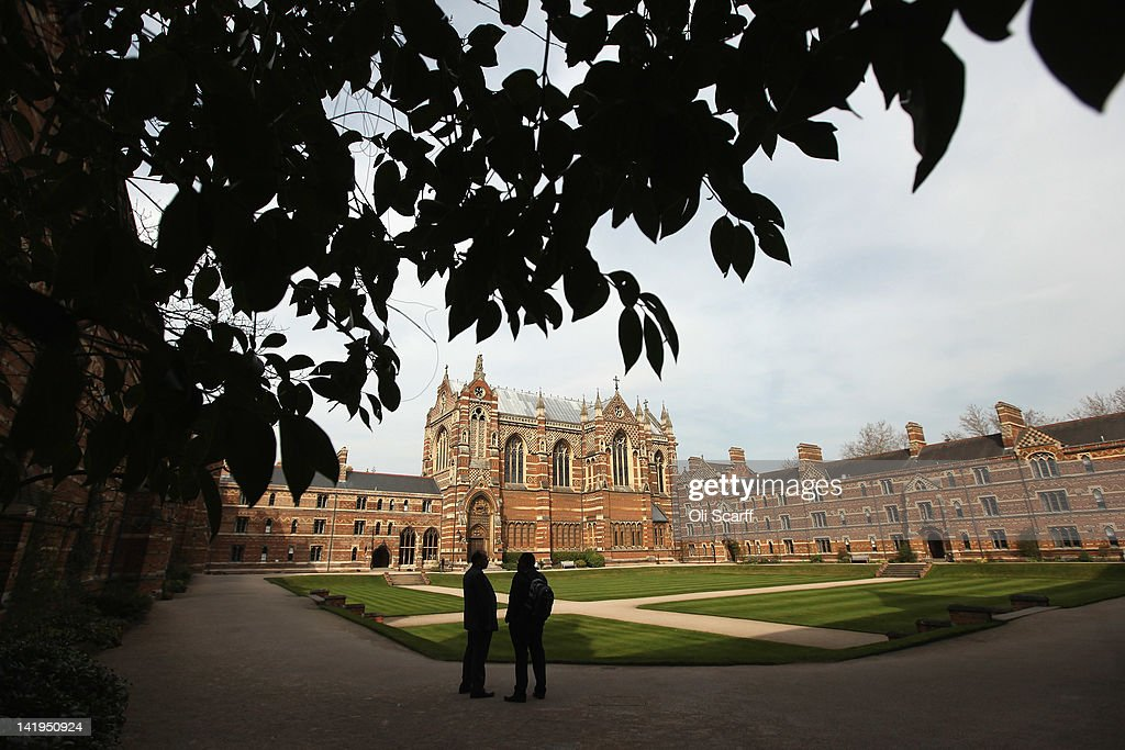 Two men talk in Liddon Quad of Keble College on March 22 2012 in Oxford England