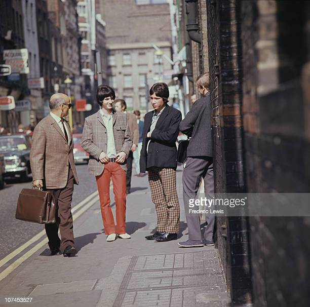 Two men wearing mod fashions London circa 1967
