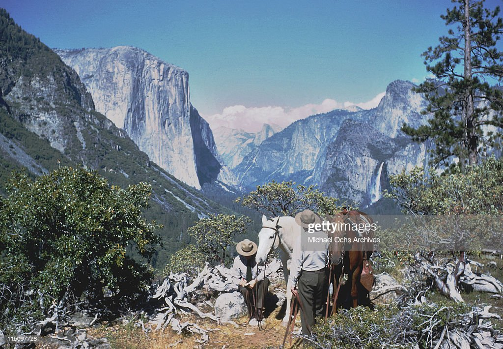 Two men with horses in one of the valleys in Yosemite National Park, California in June 1951.
