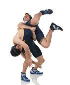 Two men wrestling