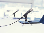 Two microphones on table, close up