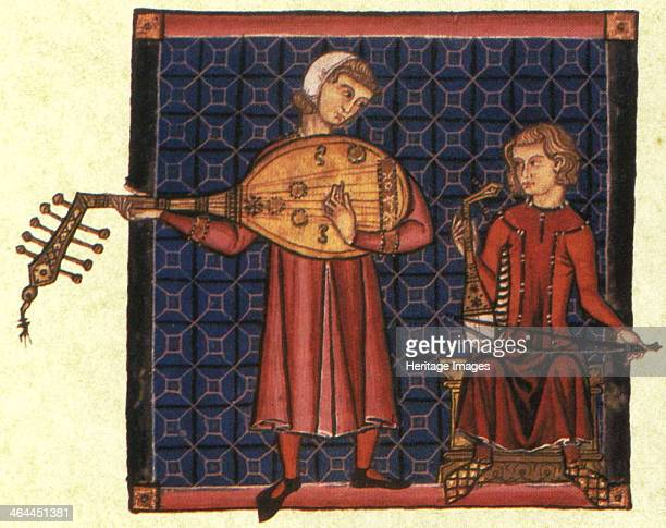 Two minstrels Illustration from the codex of the Cantigas de Santa Maria c 1280 Found in the collection of the Monasterio de El Escorial