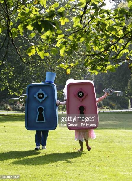 Two models dresses as safes run through St Stephens Green in Dublin to promote World Contraception Day which takes place on the 26th of September