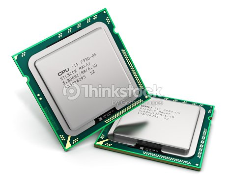 Two modern CPUs isolated on a white background : Stock Photo