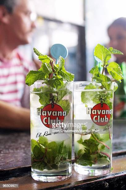 Two Mojito a typical Cuban rum cocktail stand at the bar of the Bodeguita del Medio bar and restaurant in Habana Vieja Old Havana on October 17 in...