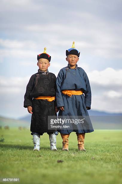 Two Mongolian boys in traditional dress