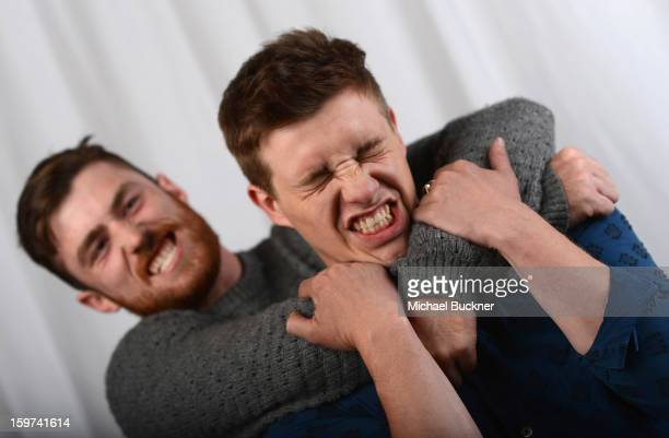 'Two Mothers' stars James Frecheville and Xavier Samuel poses for a portrait at the Photo Booth for MSN Wonderwall At ChefDance on January 19 2013 in...