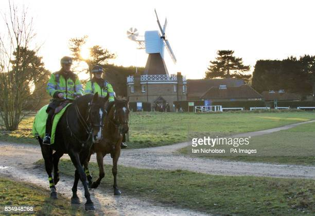Two mounted police officers ride across Wimbledon Common in London close to the place where former model and young mother Rachel Nickell was murdered...