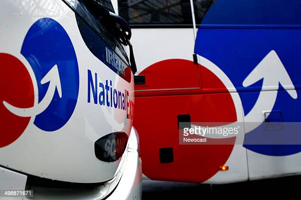 Two National Express buses at Victoria Coach Station in London
