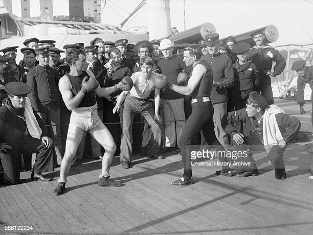 Two Naval Seamen Boxing on Anniversary of Battle of Santiago de Cuba USS New York USA circa 1899