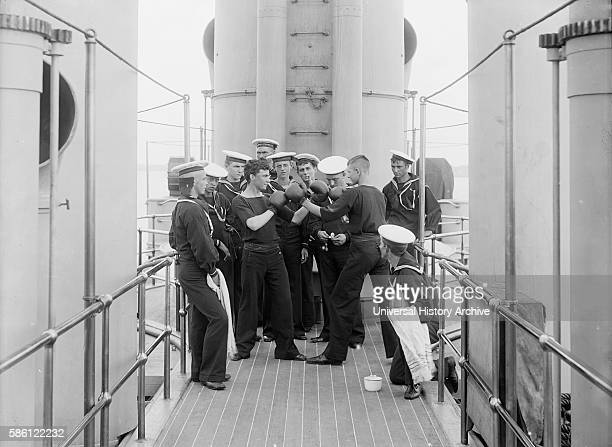 Two Naval Seamen Boxing USS Massachusetts USA circa 1896