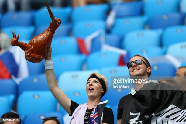Two New Zealand fans enjoy the pre match atmosphere prior to the FIFA Confederations Cup Russia 2017 Group A match between Russia and New Zealand at...