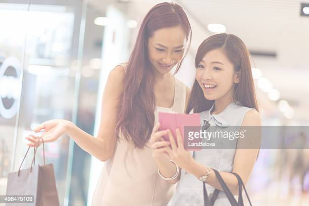 Two nice girls in the mall