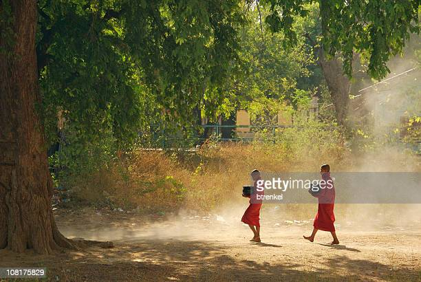 Two novice monks in the morning