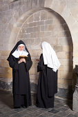Two young nuns passing eachother in a medieval convent