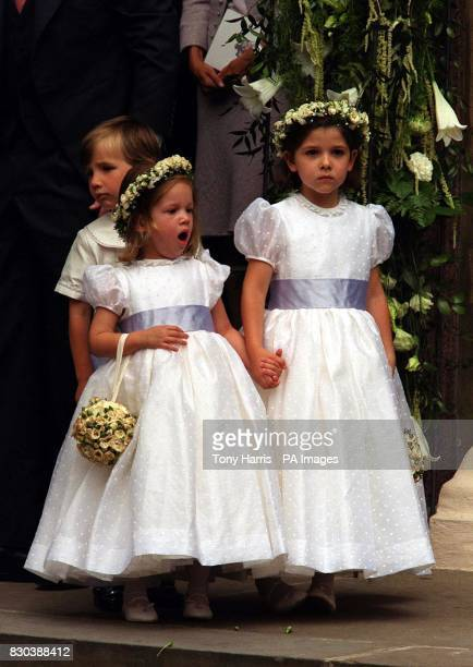Two of the bridesmaids HRH Princess Maria Olympia aged 3 and HRH Princess Mafalda at the wedding of Princess Alexia of Greece to Carlos Morales...