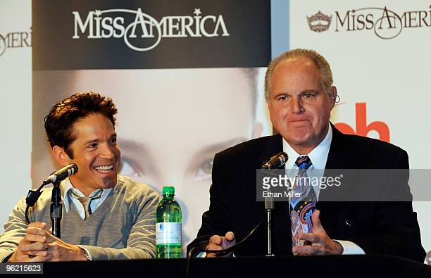 Two of the judges in the 2010 Miss America Pageant saxophonist Dave Koz and radio talk show host and conservative commentator Rush Limbaugh speak...