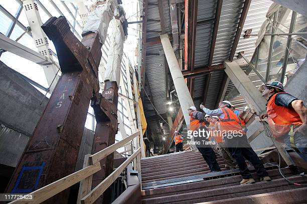 Two of the original World Trade Center tridents are seen in the museum pavillion as work continues on the National September 11 Memorial Museum at...