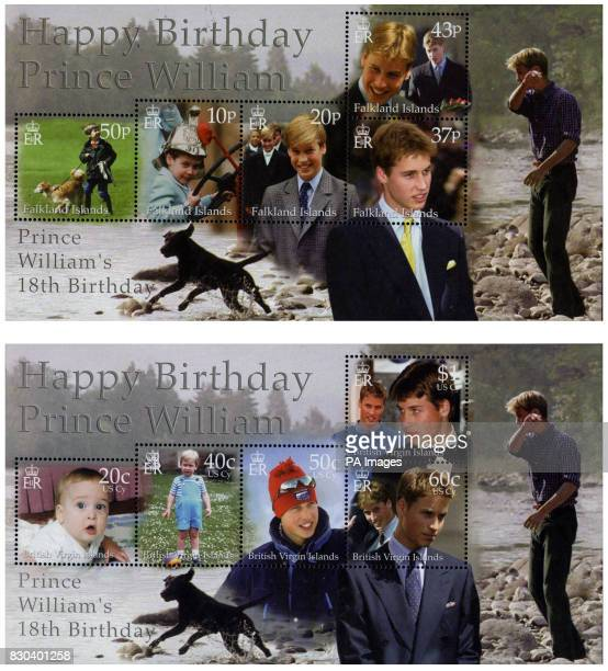 Two of the sets of stamps that will mark the 18th birthday of Britain's Prince William around the world The Crown Agents Stamp Bureau in Sutton...