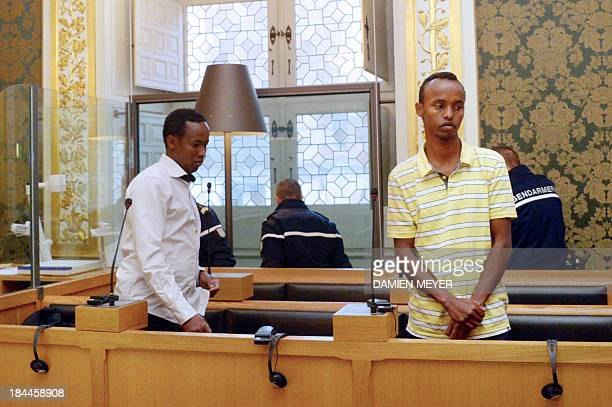 Two of the three Somali pirates arrested by French soldiers in 2009 Mahmoud Abdi Mohammed and Abdelkader Osmane Ali wait in the accused box on...