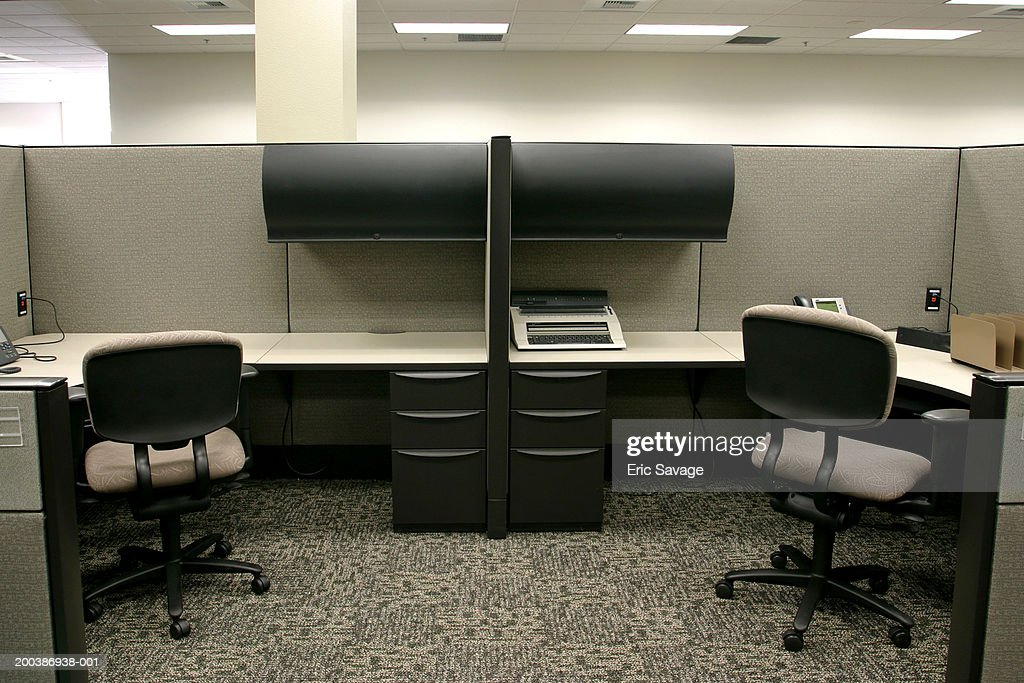 Two office chairs and desks : Stock Photo