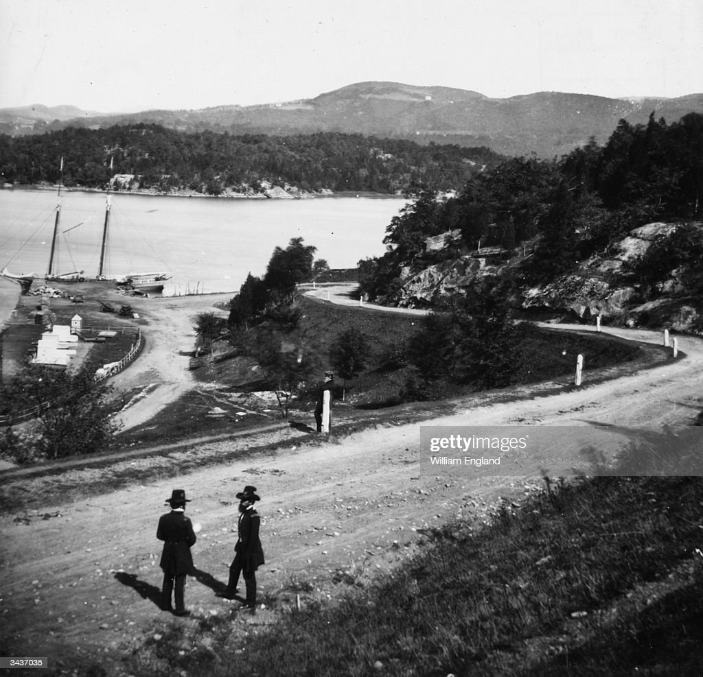 Two officers of the US Army on a road near the USMA on the Hudson River at West Point New York State