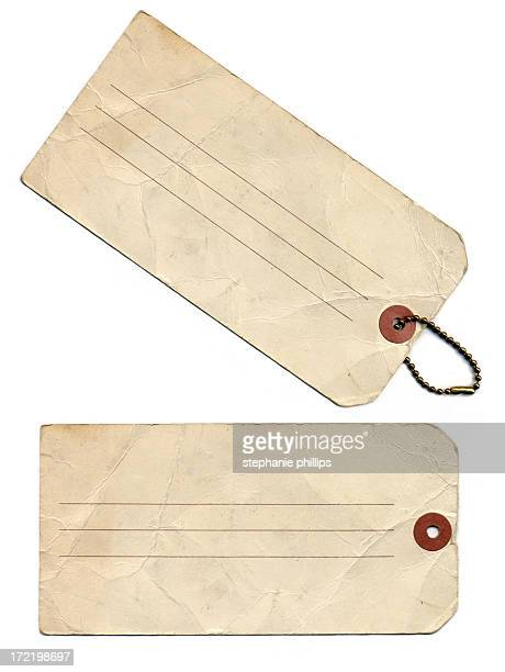 Two Old Weathered Antique Paper Luggage or Label Tags