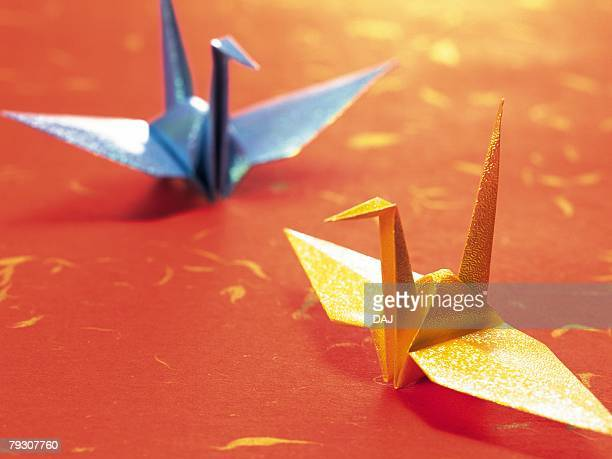 Two origami crane, Close Up, High Angle View