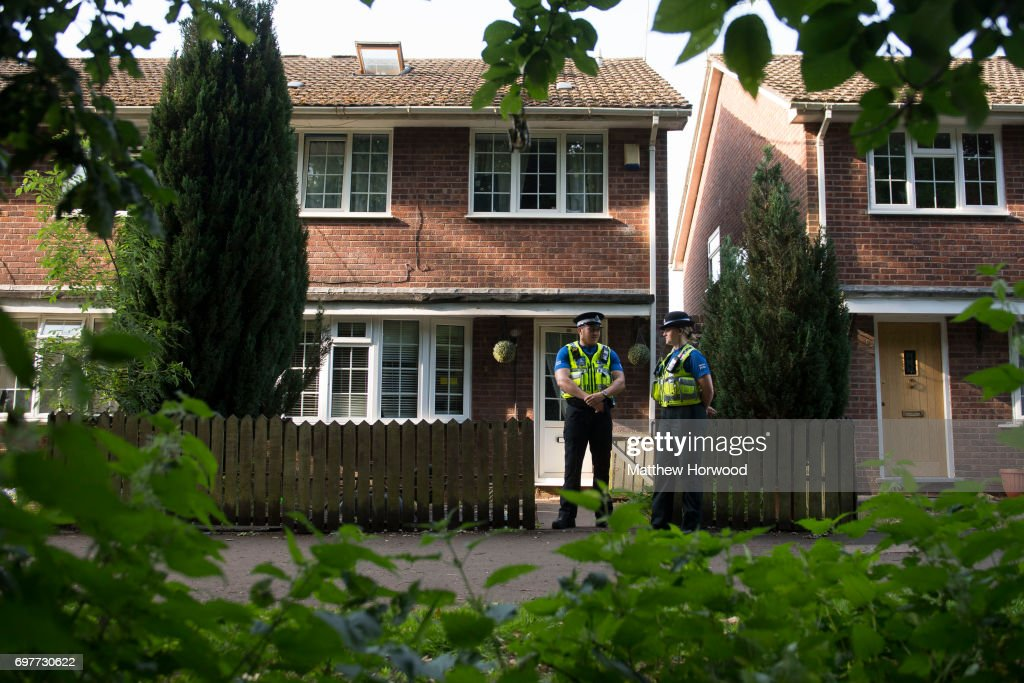 Two PCSO's stand outside a property during a search of a house on Glyn Rhosyn, Pentwyn, which is believed to be the home of Darren Osborne, who has been named as the man responsible for the Finsbury Park Mosque attack, on June 19, 2017 in Cardiff, Wales. A van ploughed into pedestrians near Finsbury Park Mosque on Severn Sisters Road, North London, at around 12.20 this morning. Police have reported that eight people were injured and one killed. A 47-year-old man has been arrested. Prime Minister Theresa May has said police are treating it as a potential terrorist incident.