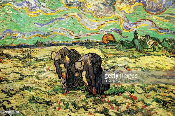 Two Peasant Women Digging in Field with Snow 1880 By Vincent Van Gogh