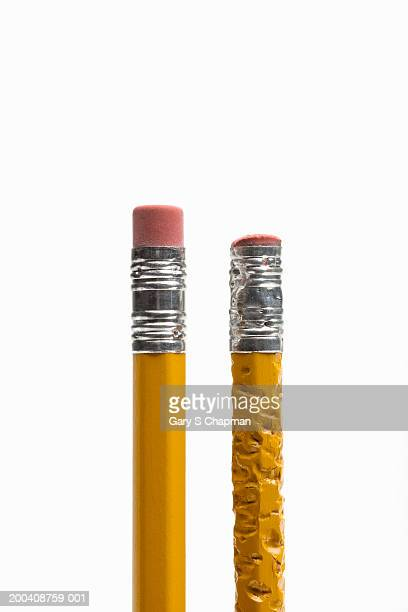 Two pencils, side by side, one chewed