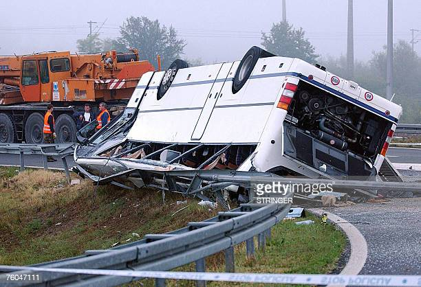 Two people died and dozens were injured when a coach overturned on a bend on a highway in Karlovac Croatia early 10 August2007 Most of the passengers...