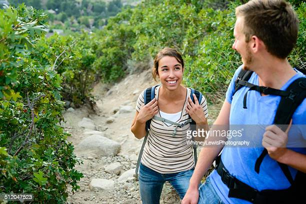 Two People Enjoying a Hike