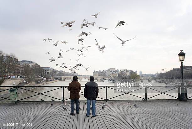 Two people feeding pigeons on Pont des Arts bridge, rear view