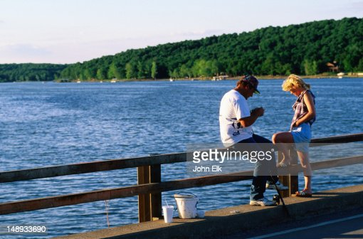 Two people fishing by grand lake stock photo getty images for Videos of people fishing