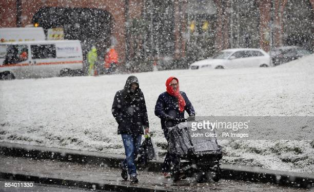 Two people heading home from York this evening after a day of heavy snowfalls and freezing temperatures which are effecting many parts of the UK