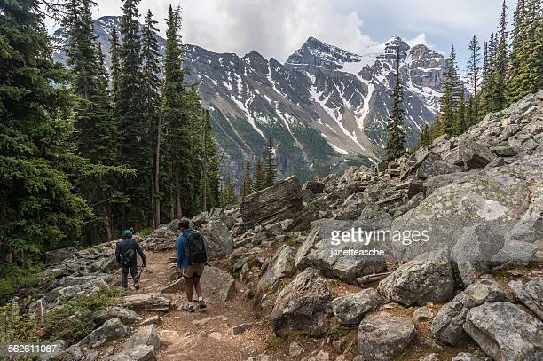 Two people hiking, Banff National Park, Alberta, Canada