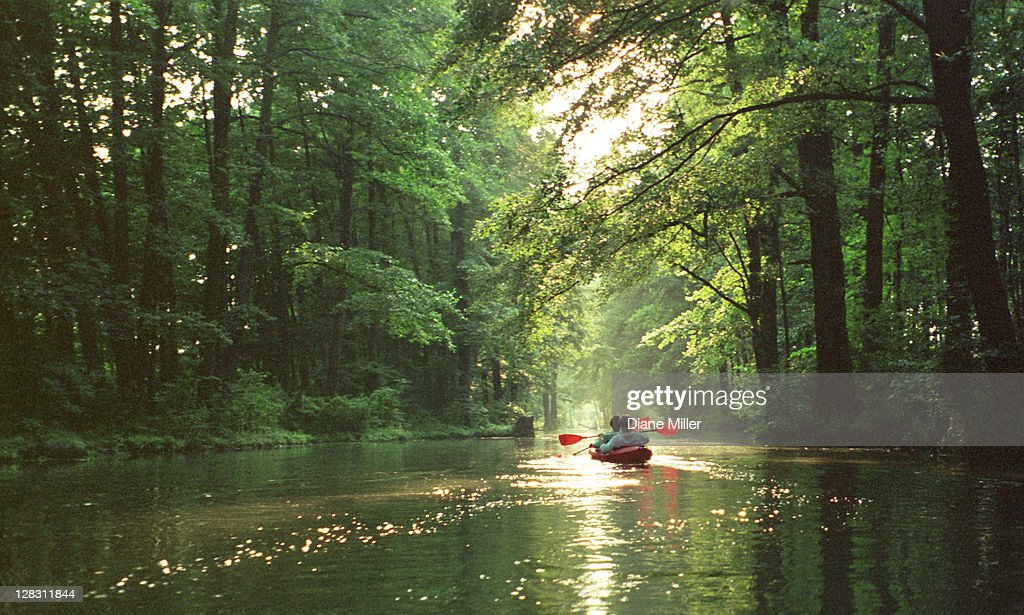 Two people in boating in the Spreewald in north east Germany