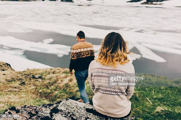 Two people near the lake